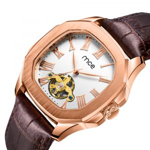01-0060531 CUSTOM ROSE GOLD WHITE DIAL MECHANICAL WATCHES...