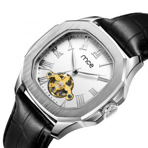 01-0060531-2 CUSTOM SILVER CASE WHITE DIAL MECHANICAL WATCHES...