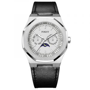 01-0060646 leather  FACTORY PRICE MILANO MULTI-FUNCTION MOON PHASE STAINLESS STEEL OEM LUXURY WATCH