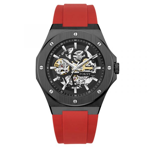 336-6-1001 men's automatic silicone strap skeleton watch oem (8)