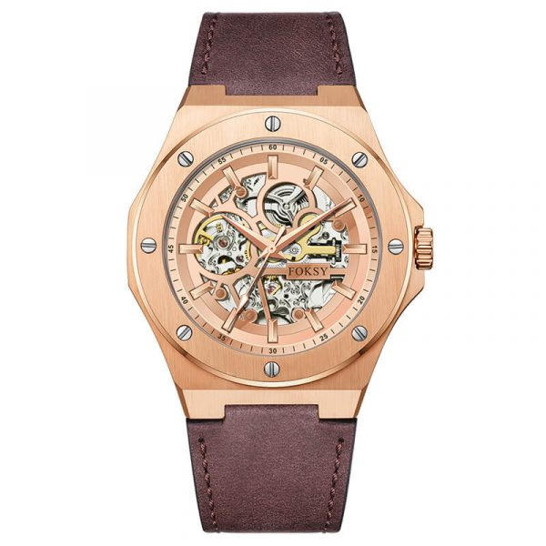 men's automatic leather strap skeleton watch oem (1)