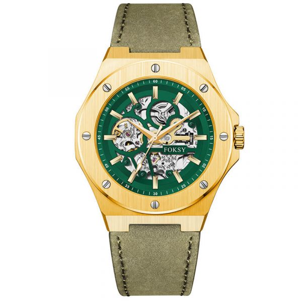 men's automatic leather strap skeleton watch oem (10)