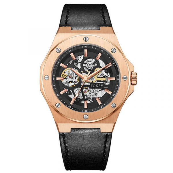 men's automatic leather strap skeleton watch oem (11)