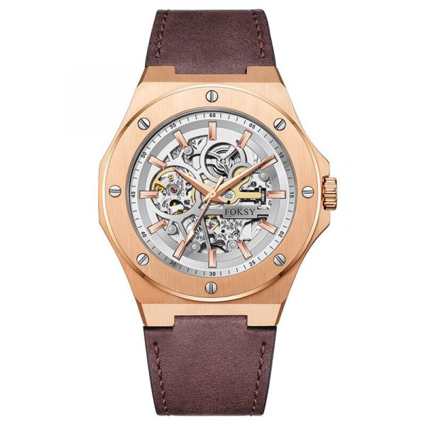 men's automatic leather strap skeleton watch oem (12)