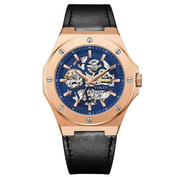 men's automatic leather strap skeleton watch oem (13)
