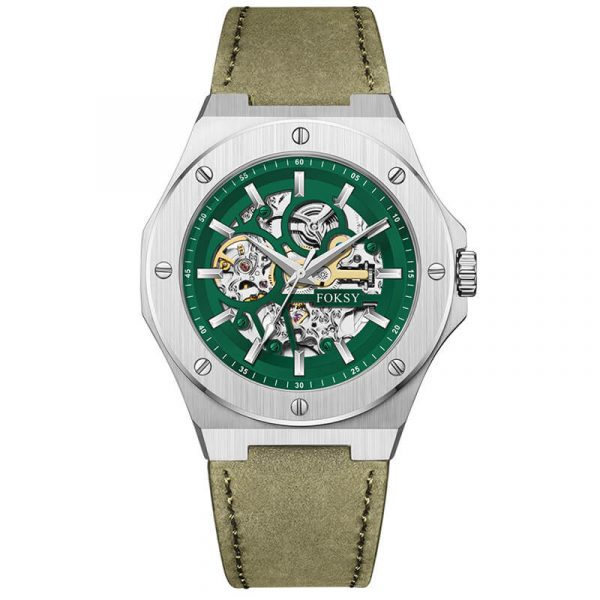 men's automatic leather strap skeleton watch oem (14)