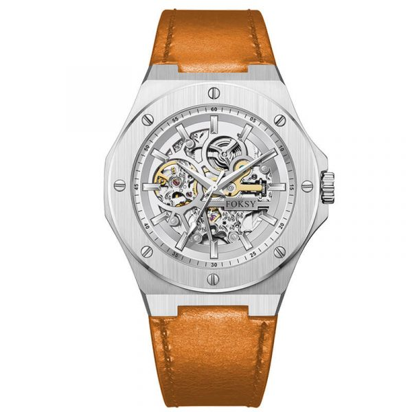 men's automatic leather strap skeleton watch oem (2)