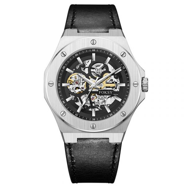 men's automatic leather strap skeleton watch oem (3)