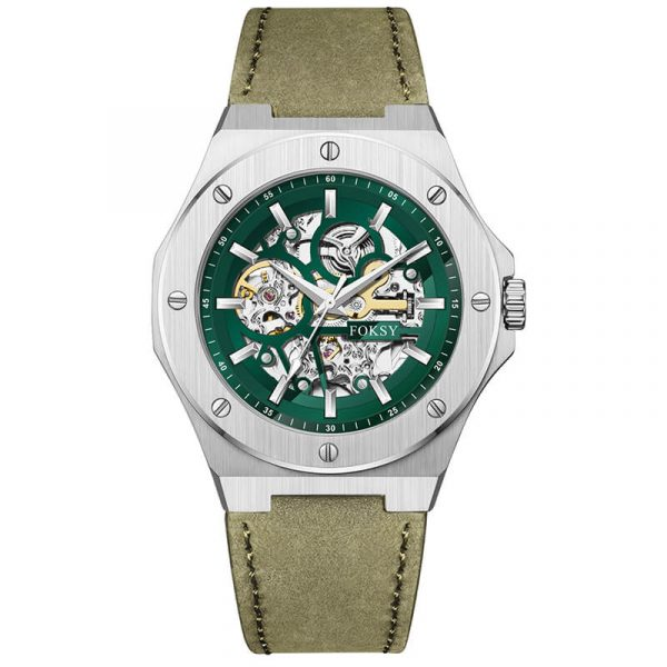 men's automatic leather strap skeleton watch oem (4)