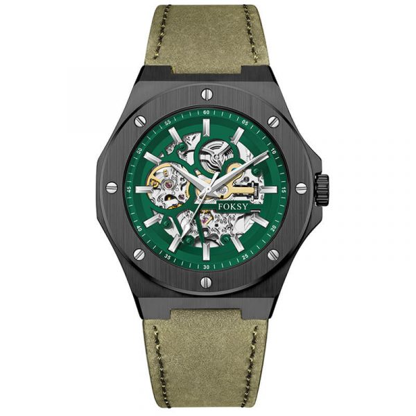 men's automatic leather strap skeleton watch oem (5)