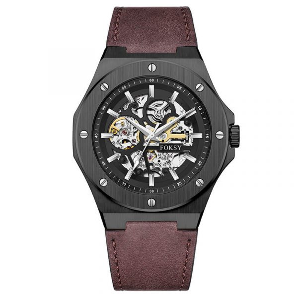 men's automatic leather strap skeleton watch oem (6)