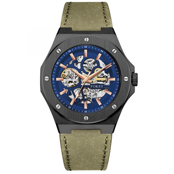 men's automatic leather strap skeleton watch oem (7)