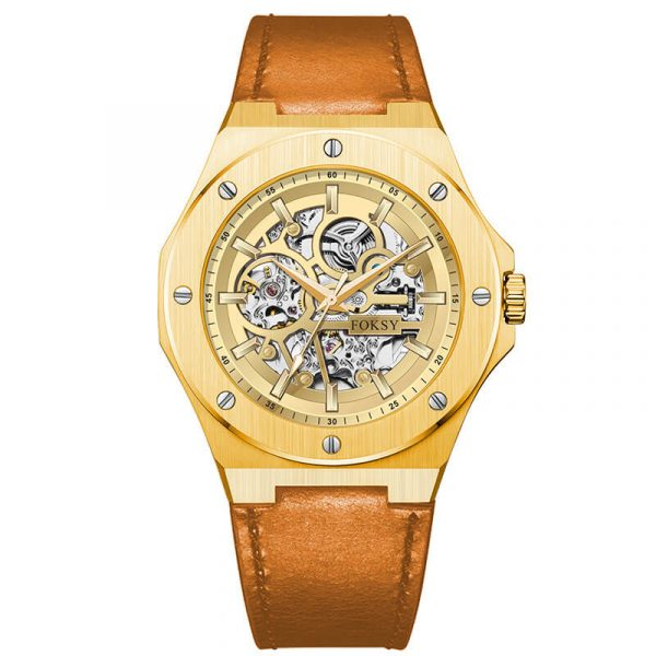 men's automatic leather strap skeleton watch oem (8)