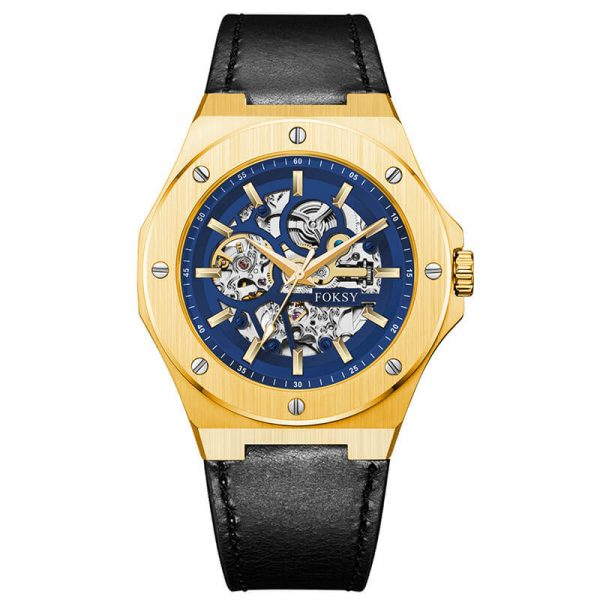 men's automatic leather strap skeleton watch oem (9)